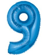 "40"" Megaloon Number 9 Shaped Blue Foil Balloon"