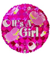 "18"" It's a Girl Sheep Pink Checkered Foil Balloon"