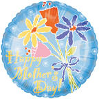 "18"" Happy Mother&#39s Day Light Blue Flowers"