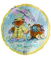 "18"" Bear in raincoat & umbrella Noah&#39s Arc Foil Balloon"