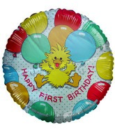"18"" First Birthday Duck Floating Balloons Suzy Zoo"