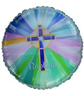 "18"" Baptism Blue Stained Glass Cross Slightly Damaged"