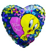 "7"" Airfilll Only Tweety I wuv You Heart shaped balloon"