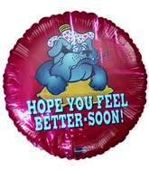 "18"" Hope You Feel Better Bulldog Red Foil Balloon"