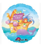 "18"" Welcome Baby Noah&#39s Arc Animals Mylar Balloon"