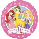 "18"" 1st Birthday Disney Princess Balloon"