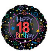 "18"" Happy 18th Birthday Black"