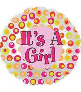 "17"" It&#39s A Girl Colorful Dots Foil Balloon"