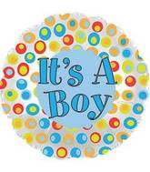 "17"" It&#39s A Boy Colorful Dots Foil Balloon"