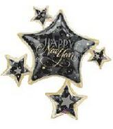 33&#39&#39 Happy New Year Golden Stars