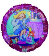 "18"" Dress Up Girl Fashion themed Pink Border balloon"