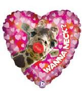 "21"" Wanna Neck Smoocher Giraffe Heart Mylar Balloon"