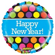 "21"" Mighty Bright Polka Dot New Year Balloon"