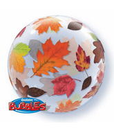 "22"" Fall Leaves Plastic Bubble Balloons"