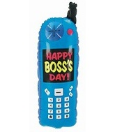 "34"" Boss&#39s Day Blue Cell Phone Balloon"