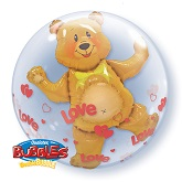 "24"" Love Hearts & Bear Plastic Bubble Balloons"