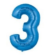 "40"" Large Number Balloon 3 Blue"