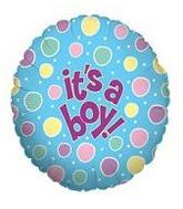 Jumbo It a Boy Dots Mylar Balloons
