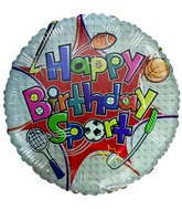 "18"" Happy Birthday Sport White Sports Themed Balloon"