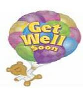 "28"" Get Well Soon Bear With Balloons"