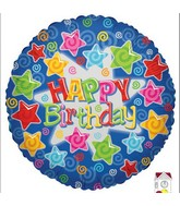 Happy Birthday Stars Holo Mylar Balloon