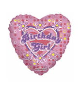 "18"" Birthday Girl Hearts & Flowers"