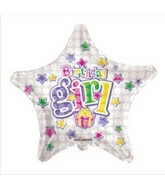 "18"" Birthday Girl Colorful Stars White Star Balloon"