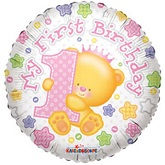 "18"" First Birthday Girl Balloon"