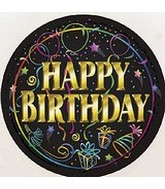 "18"" Happy Birthday Black Brilliance Balloon"