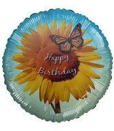 "18"" Happy Birthday Sunflower & Butterfly Blue Foil Balloon"