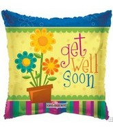 "9"" Airfill Get Well Square Flower Pot"