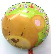 "18"" Happy 1st Birthday Bear Foil Balloon"