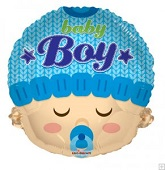 "18"" Baby Boy Head Shape Mylar Balloon"