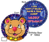 "9"" Airfill Only Lil&#39 Fuzzies Birthday Bear balloon"