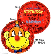 "9"" Airfill Only Lil&#39 Fuzzies Birthday Monkey balloon"