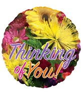 "18"" Floral Thinking of You Bright Balloon"