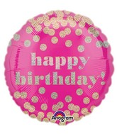 "18"" Happy Birthday Pink Confetti Gold Dots"