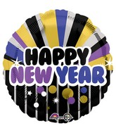"18"" Happy New Years Purple & Gold Balloon"