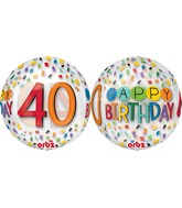 "16"" Happy 40th Birthday Rainbow Balloon"