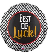 "18"" Best of Luck Black & White Balloon"