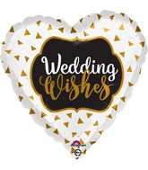 "18"" Wedding Wishes Gold Balloon"