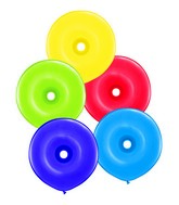 "16"" Donut Radiant Assorted 50 Count Qualatex Plain Latex"