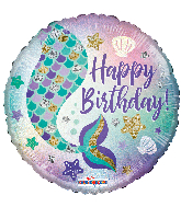 "18"" Birthday Mermaid Holographic Round Foil Balloon"