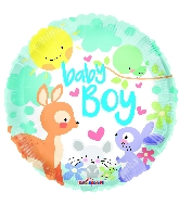 "18"" Baby Boy Animals Round Foil Balloon"