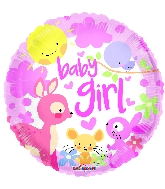 "18"" Baby Girl Animals Round Foil Balloon"