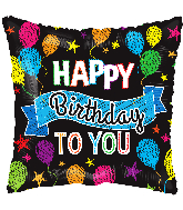 "4"" Birthday Balloons And Banner Square Foil Balloon"