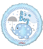 "18"" It&#39s A Boy Elephant With Umbrella Round Foil Balloon"