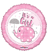 "18"" It&#39s A Girl Elephant With Umbrella Round Foil Balloon"