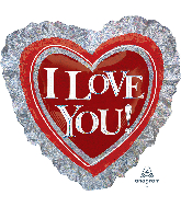 "28"" I Love You Heart Ruffle Holographic Balloon"