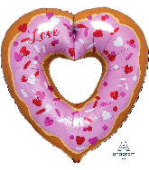 "26"" Open Heart Donut SuperShape Foil Balloon"